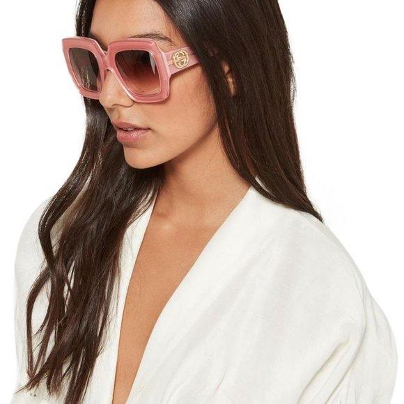 gucci pink oversized rectangle sunglasses